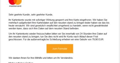 """Mastercard-Phishing: """"...mit sofortiger Wirkung gesperrt"""" (Screenshot verbraucherzentrale.nrw)"""