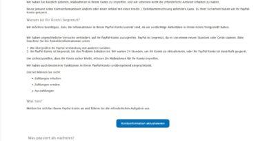 """PayPal-Phishing: """"Konto ist vorübergehend eingeschränkt"""" (Screenshot)"""