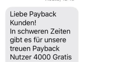 Payback-Phishing per SMS (Foto payback.de)