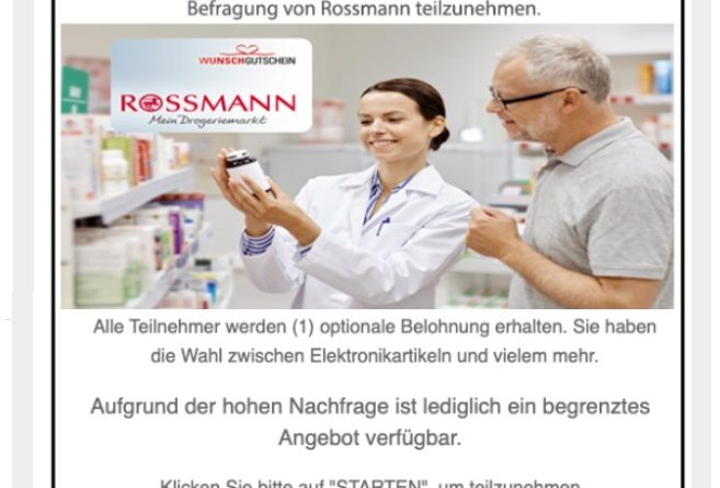 Spam-Falle für Rossmann-Shopper (Screenshot)