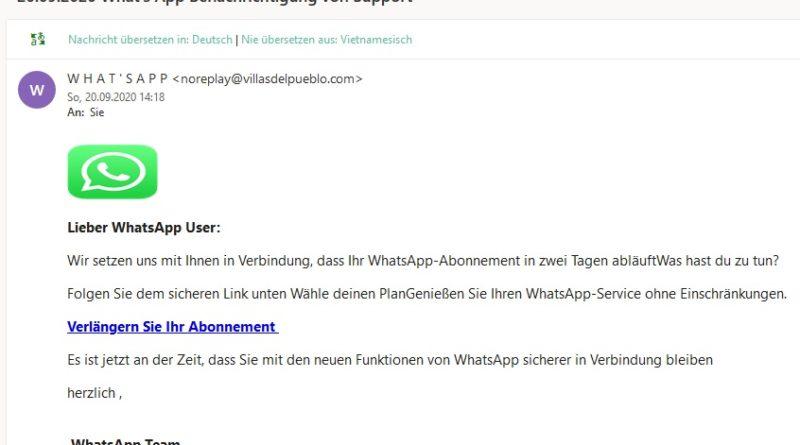 Benachrichtigung von Support (Screenshot)