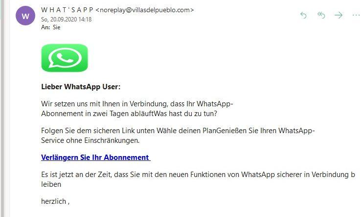 What's App Benachrichtigung von Support in Klarschrift (Screenshot)