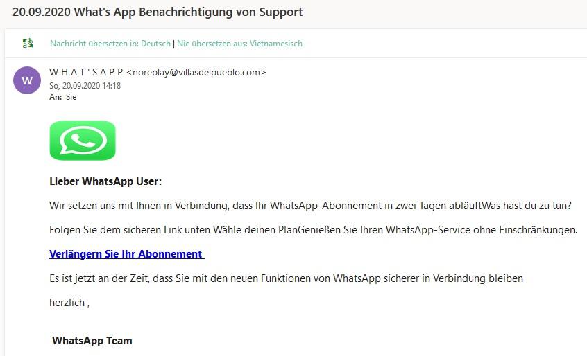 Angebliche What's App Benachrichtigung von Support (Screenshot)