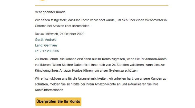 """Vorsicht, Amazon-Phishing: """"Letzte Anmeldung hinzugefügt"""" (Screenshot)"""