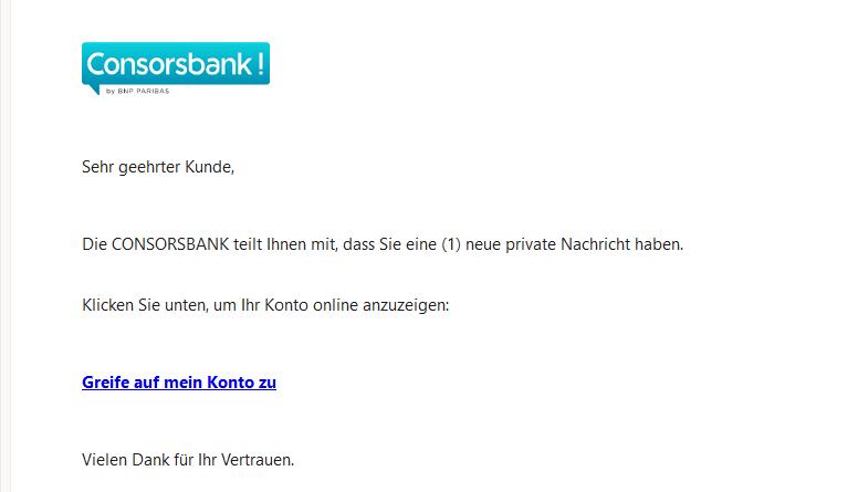 Consorsbank-Phishing (Screenshot)