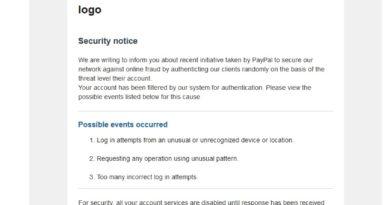 """PayPal-Phishing: """"recibo confirmação de inscrição"""" (Screenshot)"""