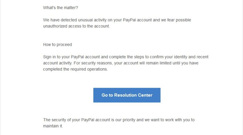 PayPal Phishing (Screenshot)