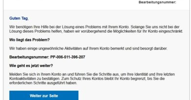 """PayPal-Phishing """"Ihr Kundenkonto wurde eingefroren!"""" (Screenshot)"""