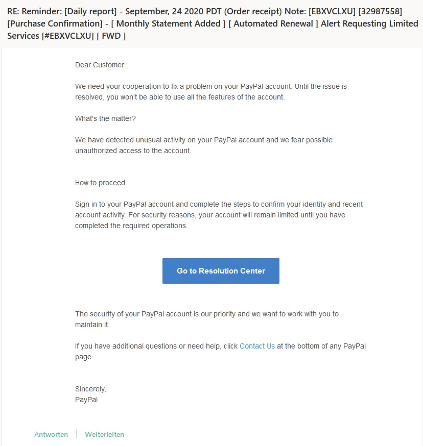 Paypal Email Betrug