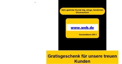 Web.de Erinnerung - Achtung! (Screenshot)