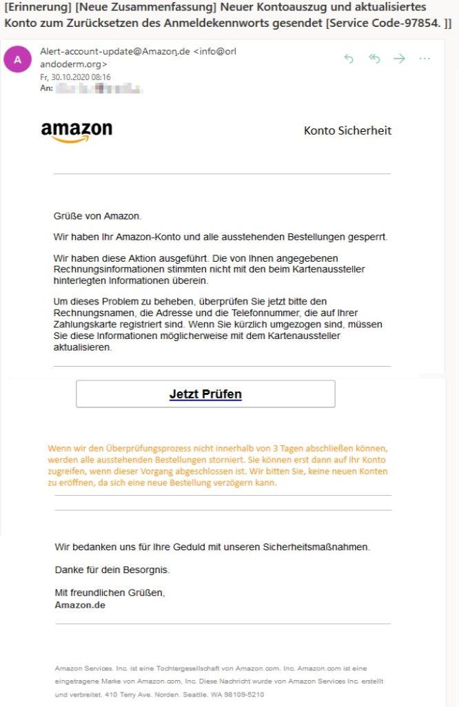 """Vorsicht, Amazon-Phishing: """"Zurücksetzen des Anmeldekennworts"""" (Screenshot)"""