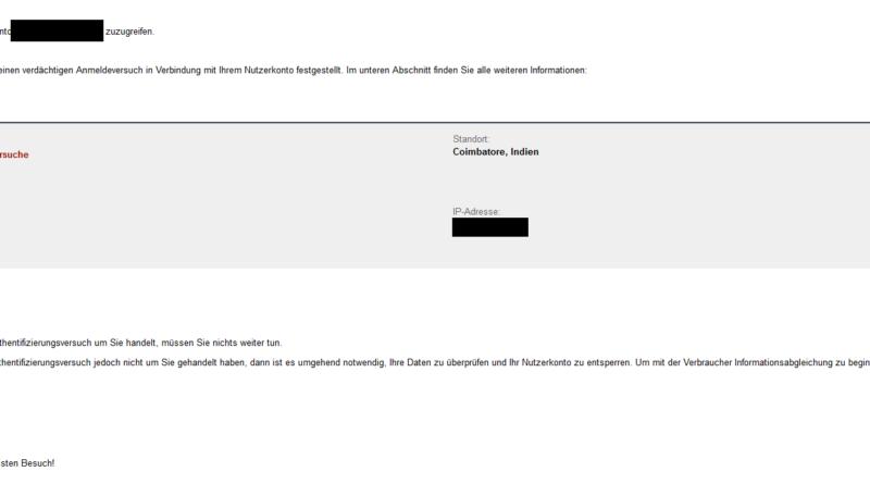 """Amazon-Phishing: """"Achtung: Verdächtiger Anmeldeversuch erkannt"""" (Foto verbraucherzentrale.nrw)"""