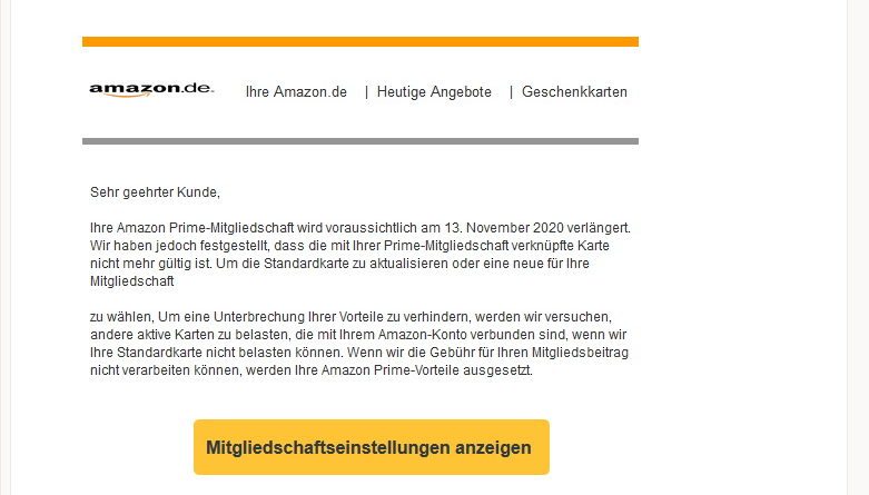 Vorsicht, Amazon-Prime-Phishing (Screenshot)