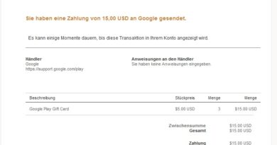 Angebliche PayPal-Phishing Google Play Gift Card Bestellung (Screenshot)