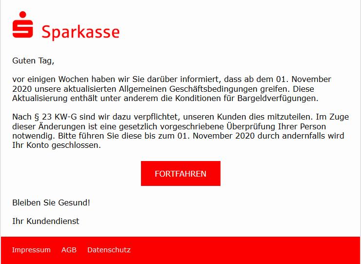 Sparkasse-Phishing: Aktualisierung der AGB (Foto: verbraucherzentrale.nrw)