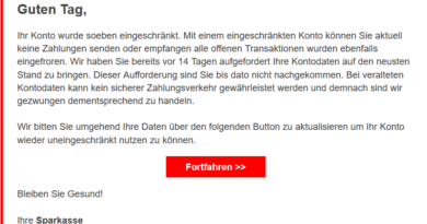 """Sparkasse-Phishing: """"Ihr Konto wurde eingeschränkt"""" (Foto: verbraucherzentrale.nrw)"""