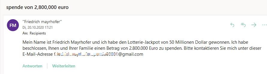 Lotterie-Jackpot-Spende ist Vorschussbetrug (Screenshot)