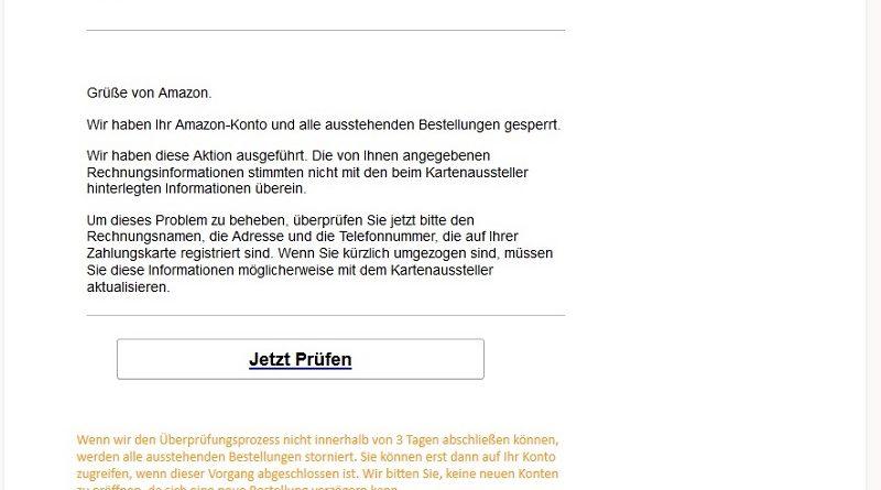 """Amazon-Phishing: """"illegale Maßnahmen ergriffen"""""""