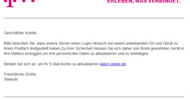 """Telekom-Phishing: """"Login-Versuche von unbekannten Gerät"""" (Foto: verbraucherzentrale.nrw)"""