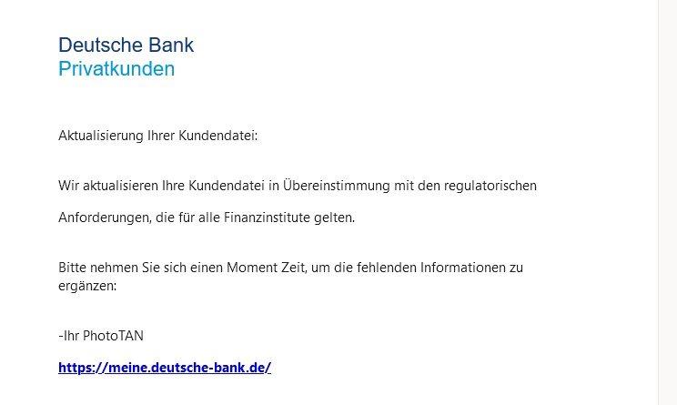 Deutsche Bank Phishing: Neue jährliche UPDATES