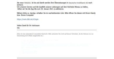 "Deutsche Kreditbank Phishing: ""Re:Nachricht wichtig"" (Screenshot)"