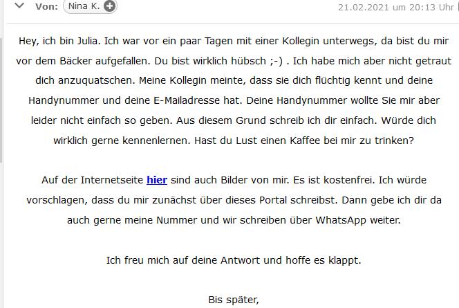 Flirt-Spam (Screenshot)