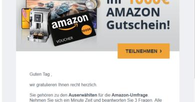 Letzte Erinnerung: 1000 Euro Amazon Gutschein (Screenshot)