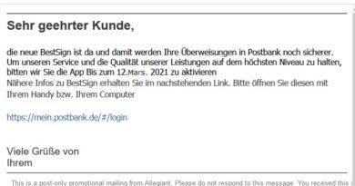Postbank BestSign - Vorsicht Phishing (Screenshot)