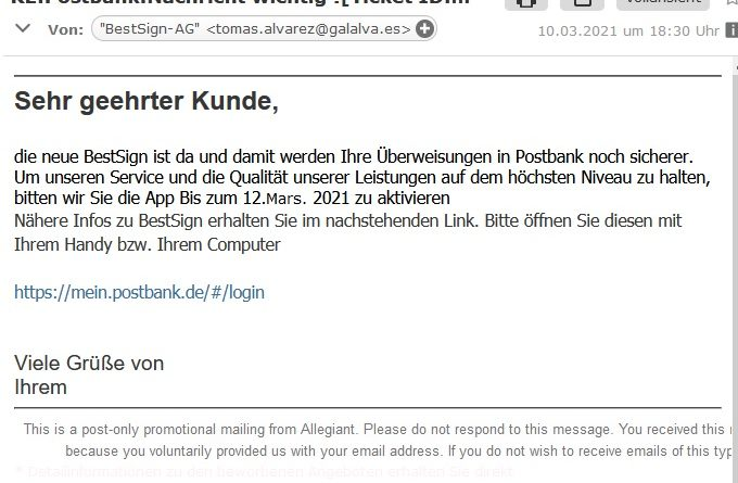 Postbank BestSign - Vorsicht Phishing (Screenshot)