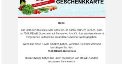 Datensammler: Gratis REWE 750 Euro Geschenkkarte sichern