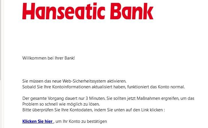 Hanseatic Bank Phishing (Screenshot)