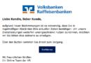 Volksbanken-Raiffeisenbanken-Phishing - Vorsicht, Betrug! (Screenshot: verbraucherzentrale.nrw)