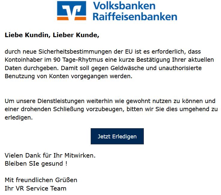 Volksbanken-Raiffeisenbanken-Phishing 90-Tage-Rhytmus (Screenshot: verbraucherzentrale.nrw)