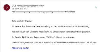 """DKB Phishing: """"Aktualisieren Sie Ihr..."""""""