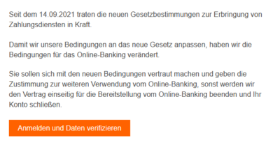 ING-DiBa-Phishing: Aktualisierung des Online-Banking (Screenshot verbraucherzentrale.nrw)