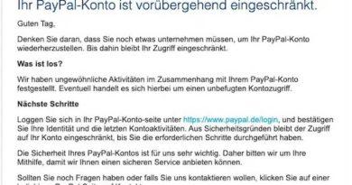 PayPal Phishing: Konto ist vorübergehend eingeschränkt