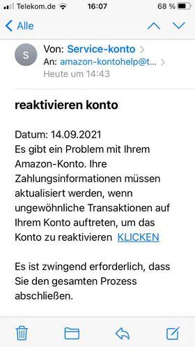 Achtung, Amazon-Phishing: reaktivieren konto (Screenshot einer unserer Leserinnen, vielen Dank!)