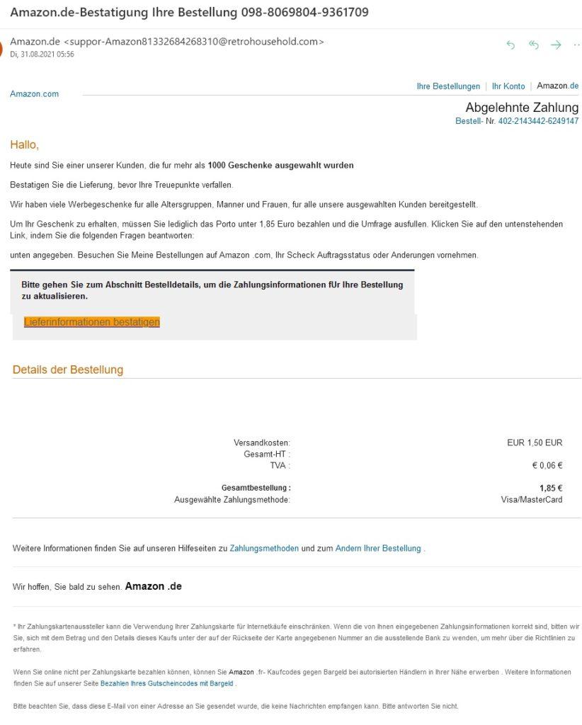 Bestellung, Treuepunkte, Werbegeschenk? Achtung, Amazon-Phishing!