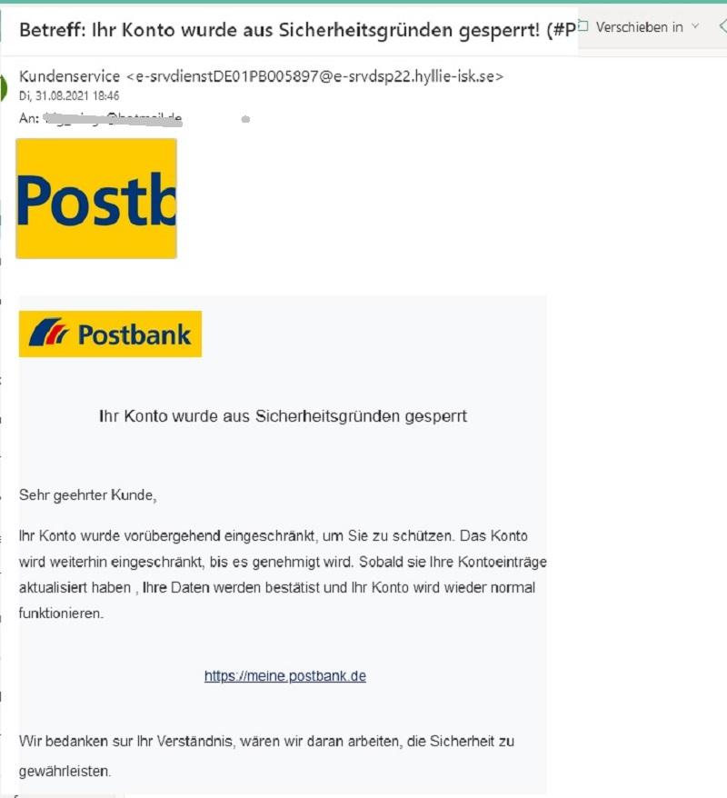 """Postbank-Phishing: """"aus Sicherheitsgründen gesperrt!"""" (Screenshot)"""