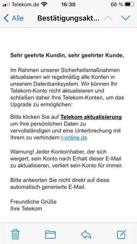 Telekom-Phishing: Bestätigungsaktualisierung ist Betrug (Screenshot einer Leserin, vielen Dank!)