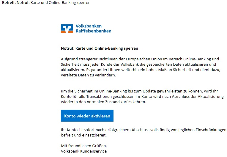 "Wieder Volksbanken-Raiffeisenbanken-Phishing: ""Karte und Online-Banking sperren"" (Screenshot)"
